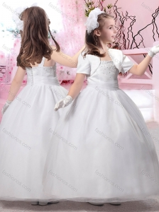 2016 Popular Square Ankle Length Flower Girl Dress with Beading