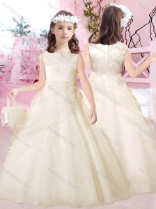 Beautiful Bateau Satin and Tulle Flower Girl Dress with Appliques