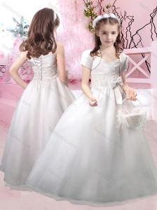 Beautiful Straps Applique and Bowknot Flower Girl Dress with Lace Up