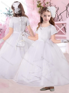 Fashionable Ankle Length Applique Flower Girl Dress with Short Sleeves