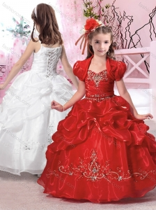 Hot Sale Straps Applique and Beaded Flower Girl Dress in Organza