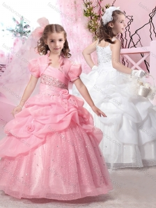 Latest Straps Ball Gown Flower Girl Dress with Beading and Pick Ups