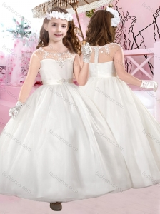 Modest Cap Sleeves Scoop Beaded Flower Girl Dress with Ankle Length