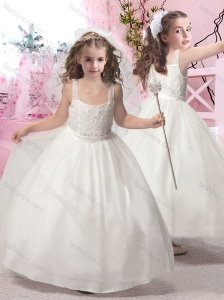 New Arrival Square Applique Flower Girl Dress with Ankle Length