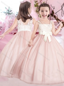 New Baby Pink and White Flower Girl Dress with Appliques and Bowknot