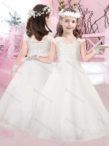New Style A Line Bateau Flower Girl Dress with Appliques and Beading