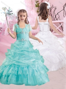 Pretty Straps Beaded and Pick Ups Flower Girl Dress in Aqua Blue