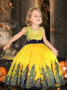 Simple Scoop Tulle Yellow Little Girl Pageant Dress with Appliques and Belt