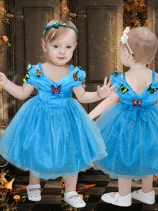 Beautiful Off the Shoulder Tea Length Little Girl Pageant Dress with Colorful Butterfly