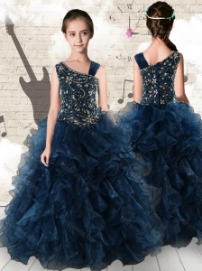 Gorgeous Navy Blue Little Girl Pageant Dresses with Beading and Ruffles
