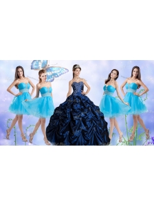 Customized Taffeta Bubles and Beaded Sweet 16 Dress and Short Baby Blue Dama Dresses