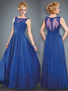 See Through Back Royal Blue Mother of The Bride Dress with Beading and Appliques