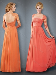 See Through Orange Red Mother of The Bride Dress with Lace and Appliques
