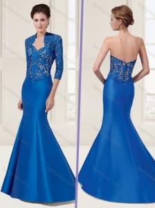 Mermaid Satin Pierced Evening Dress with Brush Train