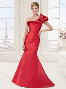 Ruffled One Shoulder Red Evening Dress with Brush Train