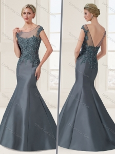 Satin Beaded and Applique Evening Dress with Brush Train