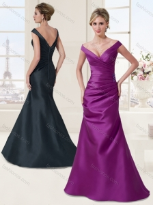 Simple Off the Shoulder Satin Eggplant Purple Evening Dress with Cap Sleeves