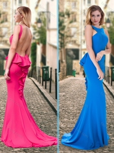 2016 Column Ruffled Blue Backless Prom Dress with Brush Train
