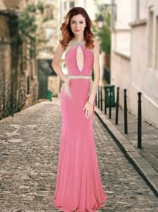 2016 High Neck Beaded Backless Pink Prom Dress with Brush Train
