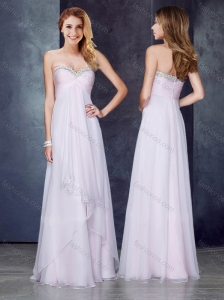 2016 Discount Empire Applique and Ruched Prom Dress in Baby Pink