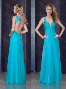2016 Simple Empire Straps  Beaded and Applique Prom Dress in Teal