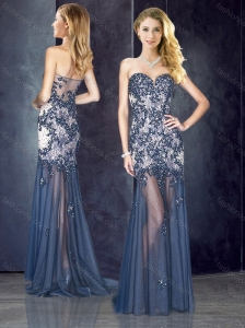 2016 Column Navy Blue Prom Dress with Appliques and Beading