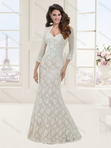 Custom Designed Mermaid Lace Brush TrainWhite Evening Dress with Jacket