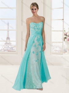 Empire Brush Train Mint Evening Dress with Beading and Appliques