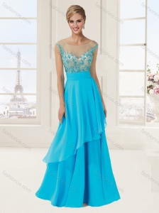 Empire Scoop Cap Sleeves Baby Blue Evening Dress with Beading and Appliques