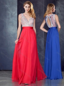 Empire V Neck Red Prom Dress with Appliques and Beading