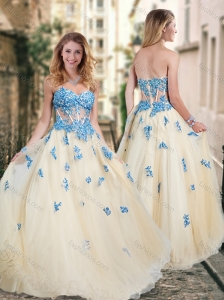 Pretty Visible Boning Tulle Champagne Prom Dress with Blue Appliques