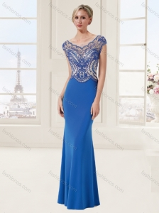 See Through Applique and Beaded Blue Evening Dress with Brush Train