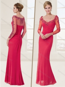 See Through Applique Coral Red Evening Dress with Long Sleeves