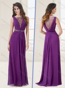 See Through Bateau Eggplant Brush Train Purple Evening Dress with Appliques