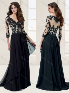 See Through Bodice Column V Neck 3/4-length Sleeves Applique Evening Dress in Black