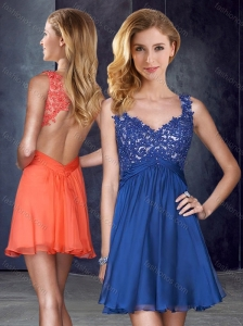 Straps Backless Royal Blue Prom Dress with Appliques and Belt