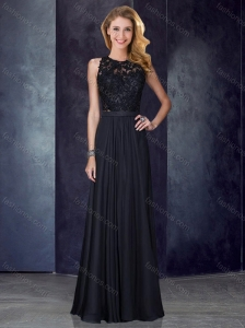 Classical Column Scoop Criss Cross Applique Black Prom Dress