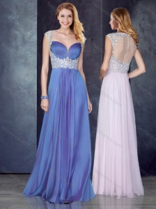 Empire Applique Lavender Bridesmaid Dress with See Through Back