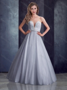 Latest See Through A Line Belted with Beading Bridesmaid Dress in Grey