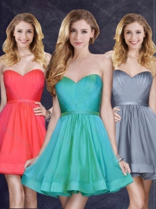 Low Price Turquoise Short Bridesmaid Dress with Belt