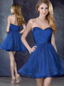 Most Popular Cheap Royal Blue Short Bridesmaid Dress with Belt