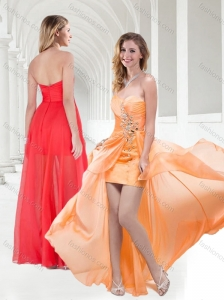 New Style Sweetheart Empire Beaded Prom Dress in Orange
