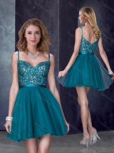 Perfect Spaghetti Straps Applique Short Prom Dress in Turquoise