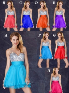 Popular A Line V Neck Backless Short Prom Dress with Sequins