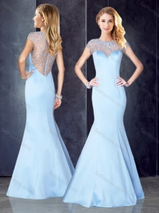 See Through Back Beaded Light Blue Prom Dress with Cap Sleeves