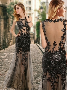 See Through Back Scoop Black Prom Dress with Appliques in Tulle