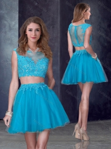 Two Piece Short Bateau Teal Prom Dress with Appliques
