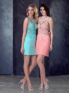 2016 Luxurious Column Short Homecoming Dress in Satin and Lace