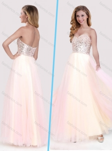 Classical Beaded Bodice Empire Baby Pink Long Prom Dress in Tulle