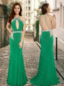 Column High Neck Backless Green Homecoming Dress with Beading